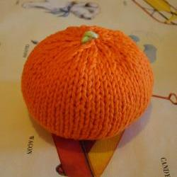 Knitted Orange Baby Rattle